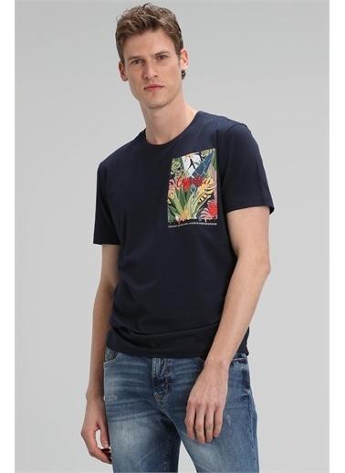 Lufian Monato Modern Grafik T- Shirt  Lacivert